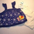 DISNEY Girl's 24 M POOH And PIGLET Shorts Outfit, NEW