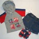 B.T. KIDS Boy's 6-9 M Denim Shorts, Shirt, Sandals Set