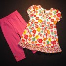 YOUNG HEARTS Girl's 4T Floral Tunic and Pants Set, NEW