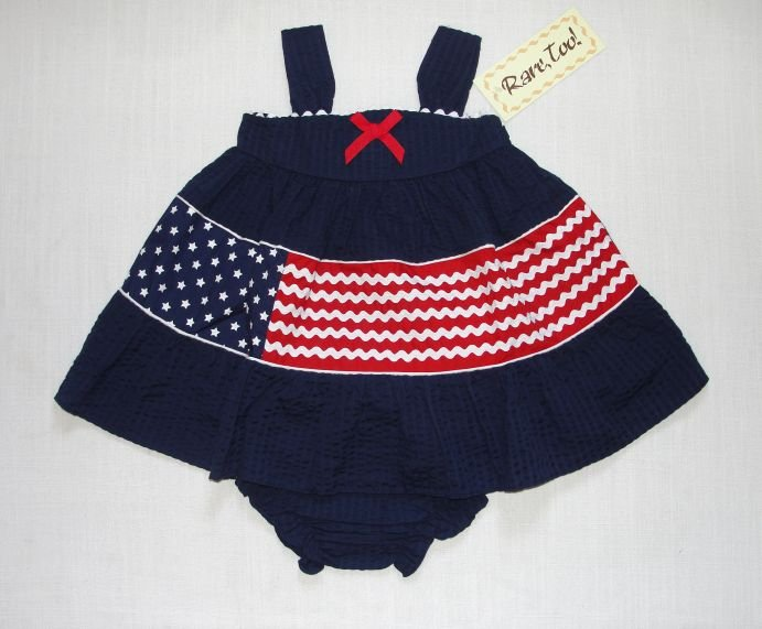 RARE TOO! Girl's 24 Months Seersucker Flag Dress, NEW