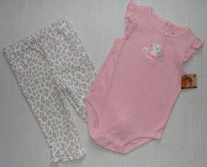 CARTER'S 9 Months Pink Leopard Kitty Pants Set, NEW