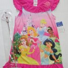 DISNEY PRINCESS Size 4 Pink Nightgown and Wand, NEW