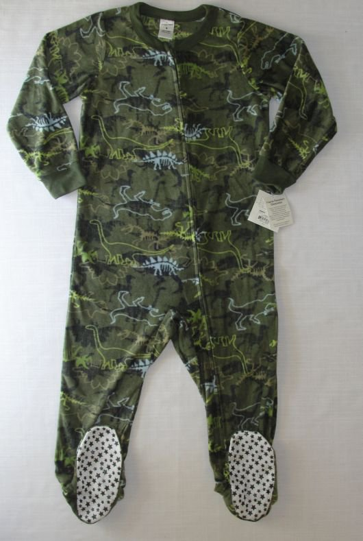 JUMPING BEANS Boy's Size 6 Fleece Dinosaur Pajama Sleeper, NEW
