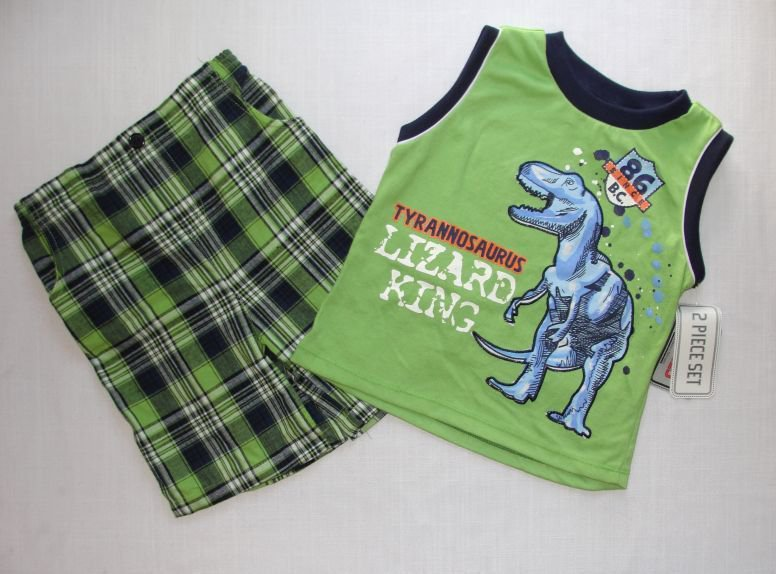 LITTLE REBELS Boy's 4T T-REX Dinosaur Shorts Outfit NEW