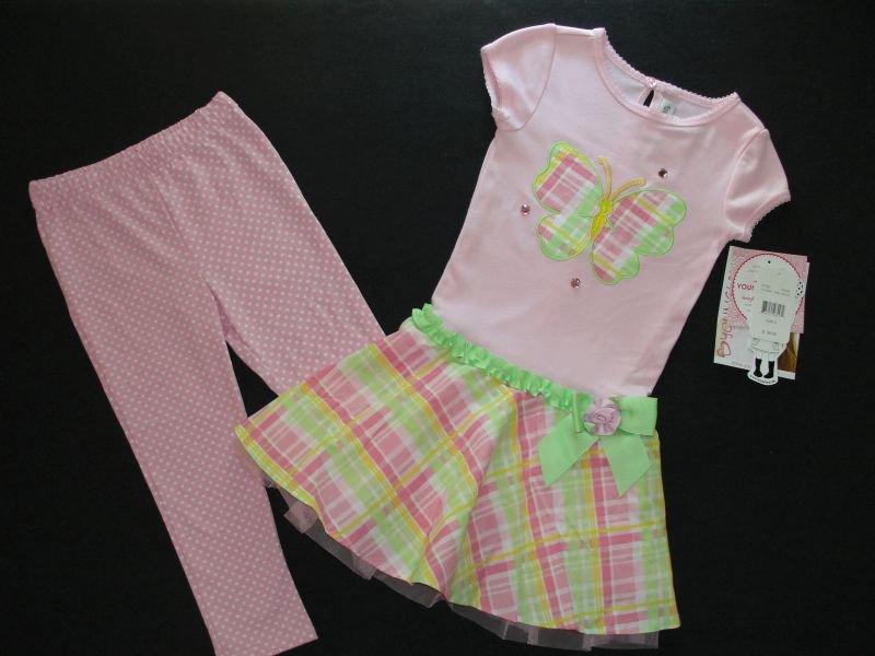 YOUNGLAND Girl's Size 5 Butterfly Dress Tunic Pants Set