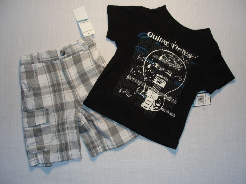 KENNETH COLE Boy's 6-9 M 'Guitar' Shorts Outfit, NEW
