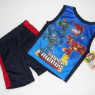 DC SUPER FRIENDS Heroes Boy's 4T Navy Shorts Set, NEW