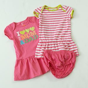 CARTER'S Girl's 12 M I Love Mom and Dad Dress Set, NEW