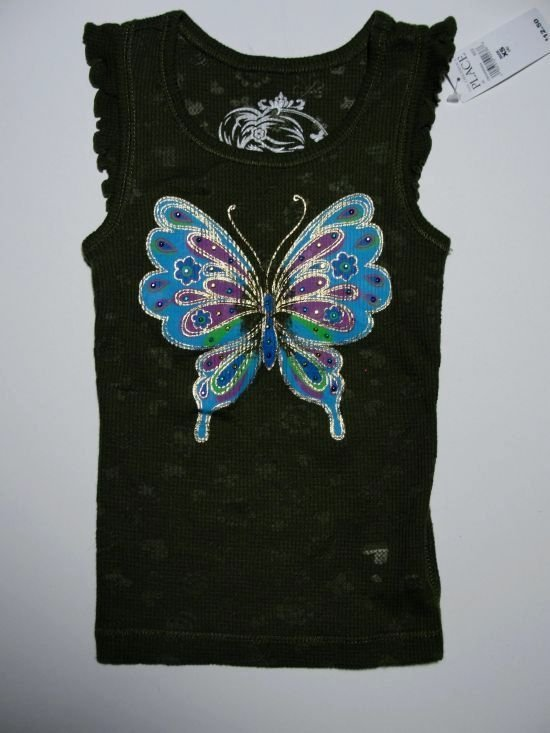 THE CHILDREN'S PLACE Girl's Size 4 Green Butterfly Tank Top, Shirt, NEW