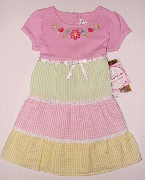 YOUNGLAND Girl's Size 5 Floral Gingham Tier Dress, NEW
