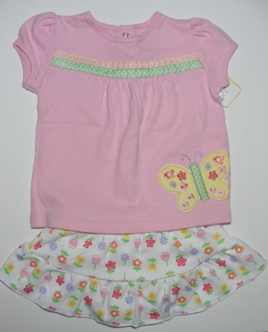 JUST ONE YEAR Girls 9 M Pink Floral Top, Skort Set, NEW