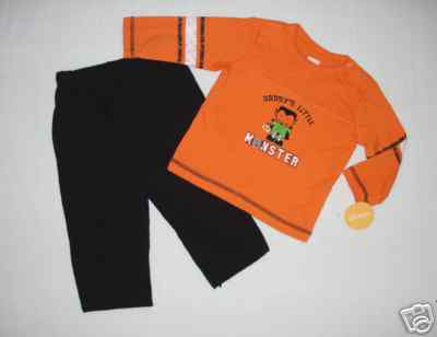 CARTER'S Boys 3 Months DADDY'S LITTLE MONSTER Halloween Shirt Pants Outfit NEW