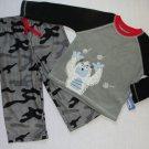 CARTER'S Boy's 2T Camoflauge Snow Monster Fleece Pajama Set, NEW