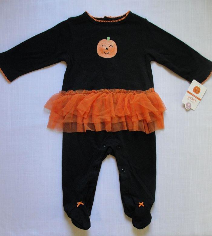 CARTER'S Girl's 6 Months HALLOWEEN Jumpsuit Pumpkin Tutu Costume, NEW