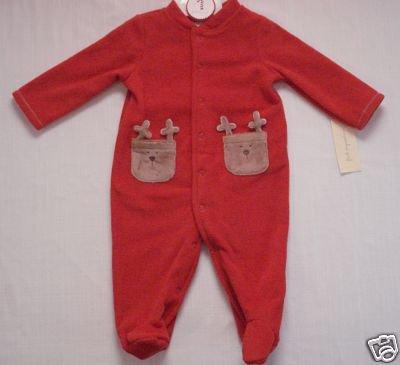 FIRST IMPRESSIONS 3-6 Months Fleece Reindeer One-Piece