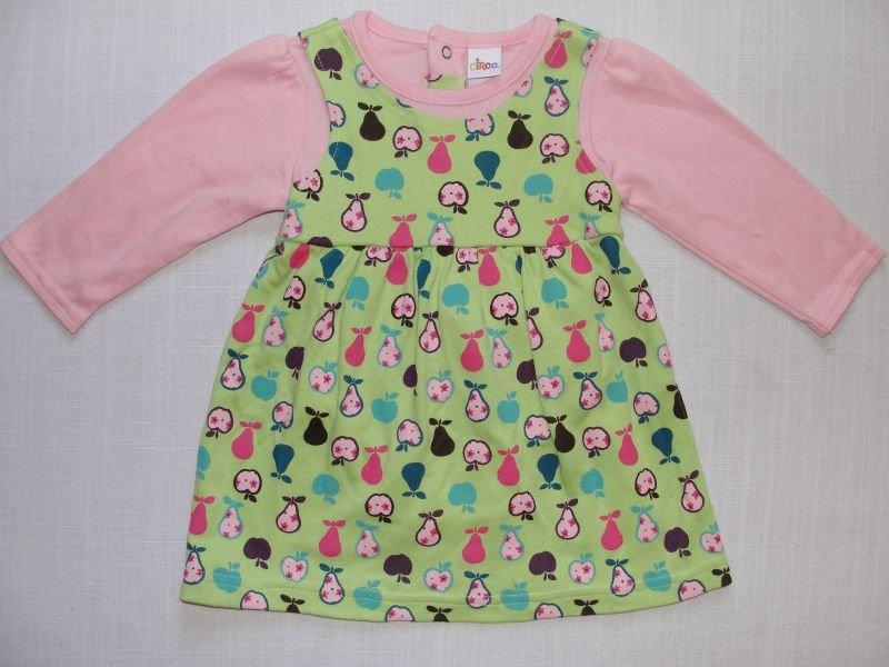 CIRCO Girl's 6 Months Green and Pink Dress Set, Fruit Theme, NWOT