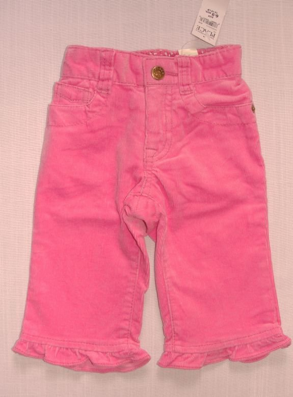 The Children's Place Girl's 6-9 Months Pink Corduroy Pants, NEW
