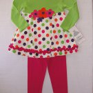 RARE EDITIONS Girl's Size 4 Polka Dot Tunic, Pink Leggings Outfit, NEW