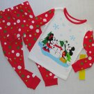 DISNEY MINNIE AND MICKEY MOUSE SNOWMAN Pajama Set, Size 3, NEW