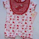 DUCK DUCK GOOSE Girl's 6-9 Months Strawberry Romper, Bib Set, NEW