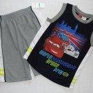 DISNEY PIXAR CARS World Grand Prix Boy's Size 7X Shorts Outfit, NEW