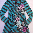SELF ESTEEM Girl's Size Small Striped Teal, Floral Tunic Shirt, NEW