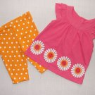 CARTER'S Girl's 9 Months Pink Orange Floral Capri Set, Outfit, NEW