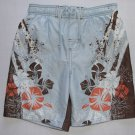 SAND N SUN Boy' Size XS 4/5 Blue Floral Tropical Swim Shorts, Trunks