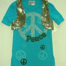 BEAUTEES Girl's Size 5 Teal Peace Tunic Shirt, Reversible Silver Vest, New