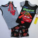 DISNEY CARS LIGHTNING MCQUEEN Size 4 3-Piece Pajama Shorts Set, NEW