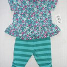 THE CHILDREN'S PLACE Girl's 0-3 Months Floral Top, Pants Set, NEW