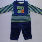 FIRST IMPRESSIONS Boy's 0-3 Months MONSTER Pants Outfit with Bib, NEW