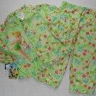 DISNEY FAIRIES Girl's 3T Green TINKERBELL Pajama Coat Set, NEW
