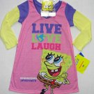 SPONGEBOB Girl's Size 4 LIVE, LOVE, LAUGH Nightgown w/ Keychain, NEW