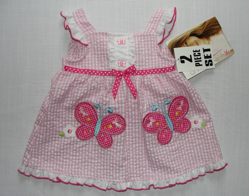 YOUNGLAND Girl's 6-9 Months Pink Gingham Butterfly Dress Set, NEW