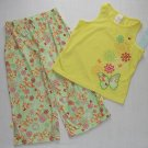 XHILARATION Girl's Size XS 4/5 Butterfly and Floral Pajama Set, NEW