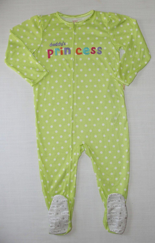 CARTER'S Girl's Lime Green Polka Dot DADDY'S PRINCESS Pajama Sleeper, 4T NEW