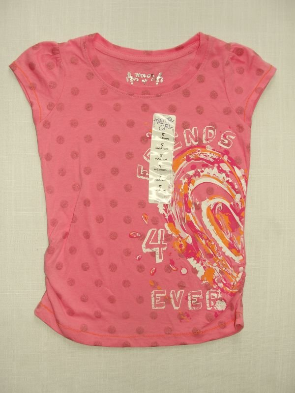 TOTAL GIRL Girl's Size 4 Pink Short-Sleeved 'FRIENDS' Top, NEW