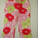 ARIZONA Girl's Size 12 Regular Pink Floral Cropped Pants, New without tags