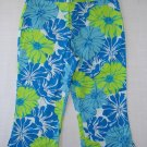 ARIZONA Girl's Size 12 Regular Teal Floral Cropped Pants, New without tags