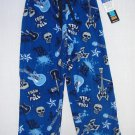 JELLIFISH KIDS Boy's Size 4/5 Fleece Lounge Pants, Skull, Guitar, NEW