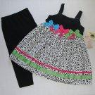 GOOD LAD Girl's Size 6 Black Cheetah Print Dress, Leggings Set, NEW