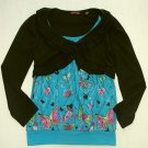 TEMPTED Girl's Size Large Butterfly and Black Shrug Shirt, NEW