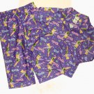 DISNEY FAIRIES TINKERBELL Girl's Size 4 Purple Flannel Pajama Coat Set, NEW