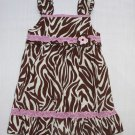 YOUNGLAND Girl's Size 3T Brown Zebra Sundress, Dress, NEW