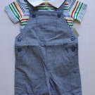 FIRST IMPRESSIONS Boy's 0-3 Months Striped Shirt and Blue Overalls Set, NEW