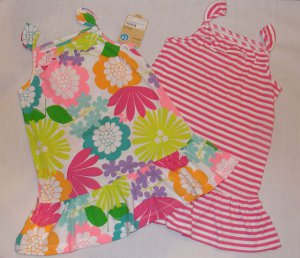 CARTER'S Girl's 24 Months Pink Striped and Floral Sundress Dress Set, NEW