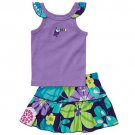 CARTER'S Girl's 24 Months Purple Toucan Floral Skort, Skirt Set, NEW