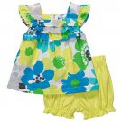 CARTER'S Girl's Size 18 Months Floral Top and Polka-Dot Shorts Set