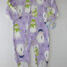 CARTER'S Girl's 24 Months Purple Fleece SNOWMAN Pajama Sleeper, NEW